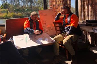 Crew inspecting Weir