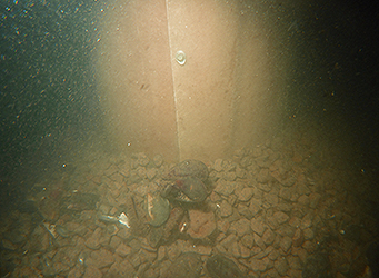 Wrapped pile in seabed