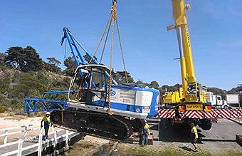 crane lifting digger