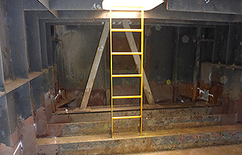 Confined space with ladder