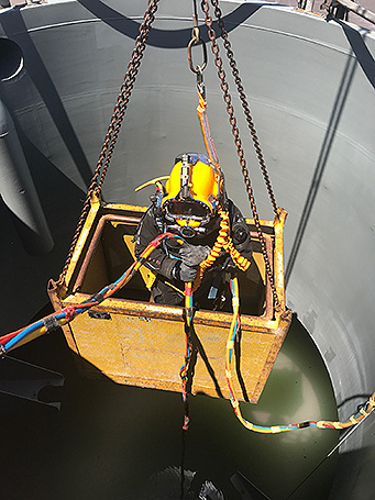 Diver lowered into digester