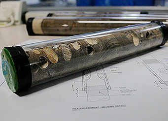 Pile core sample and drawings