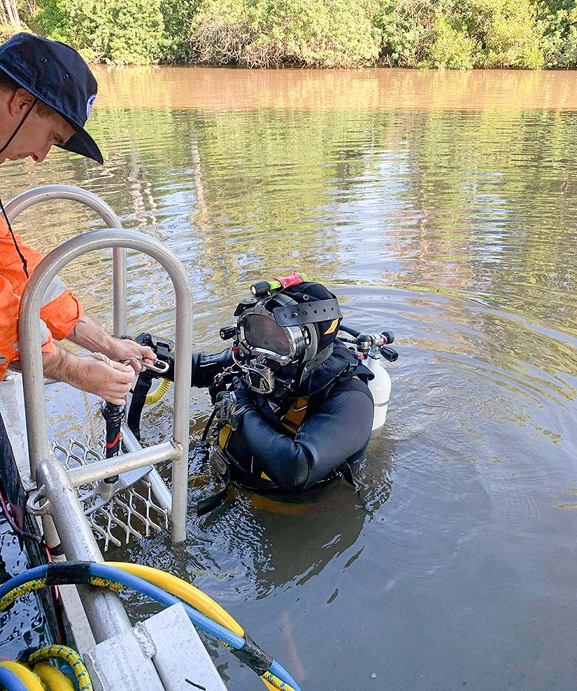 Commercial Diver undertaking bridge pile survey in Queensland